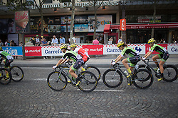The Cylance Pro Cycling rides around the course before the start. While the course itself is not very technical, the road surface can be rough at certain points and it helps to the La Course, a 89 km road race in Paris on July 24, 2016 in France.