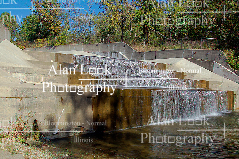 08 October 2013:   Yellowwood Lake was lowered in 2011 to repair the concrete spillway at the south end of the lake.  Water now flows freely over the steps of the dam to keep the water at level.<br /> <br /> Yellowwood State Forest was created on leased federal land in 1940.  It was later (1956) deeded to the state of Indiana.  More than 2000 vacant and eroded acres were planted with pine, black locust, black walnut, and red and white oak.  Yellowwood Lake is 133 acres and about 30 feet deep.<br /> <br /> This image was produced in part utilizing High Dynamic Range (HDR) processes. It should not be used editorially without being listed as an illustration or with a disclaimer. It may or may not be an accurate representation of the scene as originally photographed and the finished image is the creation of the photographer.