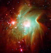 NASA's Spitzer Space Telescope exposes the depths of this dusty nebula, known as Messier 78.
