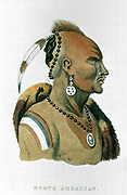 Sewessissing, Chief of the Iowa native North Americans. From Georges Cuvier 'The Animal Kingdom', London,1837. Hand-coloured engraving.