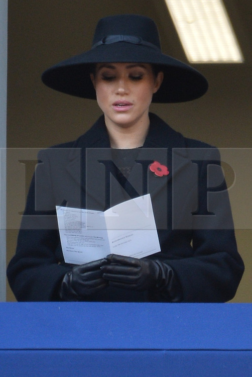 © Licensed to London News Pictures. 10/11/2019. London, UK. The Duchess of Sussex attends the annual remembrance ceremony marking the 101st anniversary of the end of the First World War. Photo credit: Ray Tang/LNP