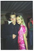 Sean Brosnan  and Anouska de Georgiou, Indian Palace Ball. Naval and Military club, St. James. 8 July 2002