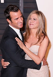"File photo - Justin Theroux and Jennifer Aniston attend the 2015 Vanity Fair Oscar Party hosted by Graydon Carter at Wallis Annenberg Center for the Performing Arts on February 22, 2015 in Beverly Hills, Los Angeles, CA, USA. Hollywood couple Jennifer Aniston and Justin Theroux are separating after two years of marriage. The pair, who reportedly met on the set of comedy film Wanderlust, said the mutual decision was ""lovingly made"" at the end of last year. Photo by Chris Elise/ABACAPRESS.COM"