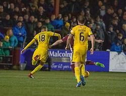 Stenhousemuir's Mark McGuigan (9) scoring their fourth goal. Stenhousemuir 4 v 2 Falkirk, 3rd Round of the William Hill Scottish Cup played 24/11/2018 at Ochilview Park, Larbert.