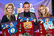 Perspresentatie sinterklaasboeken met Rafael van der Vaart, Nicolette van Dam en Wendy van Dijk in Theater Carre.<br /> <br /> Op de foto: Rafael van der Vaart, Nicolette van Dam en Wendy van Dijk