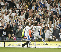 Photo: Aidan Ellis.<br /> Leeds United v Swansea City. Coca Cola League 1. 22/09/2007.<br /> Leeds David Prutton and Jermain Beckford celebrate the second goal with the fans