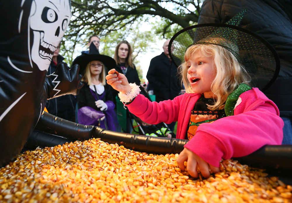 Five-year-old Makenna Bowman finds a penny in a pile of corn which she traded for a piece of candy during an All Hallows Eve event Friday at the Stuhr Museum in Grand Island. (Independent/Matt Dixon)