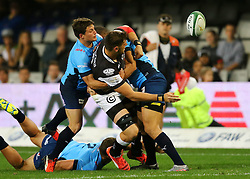 Ruan Botha of the Sharks passes the ball backwards during the Currie Cup match between the The Sharks and The Blue Bulls held at King's Park, Durban, South Africa on the 27th August 2016<br /> <br /> Photo by:   Anesh Debiky / Real Time Images