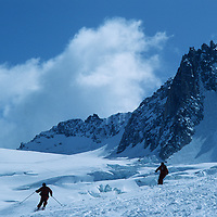 SKIING, French Alps, Skiers on Vallee Blanche Glacier above Chamonix (MR).