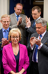 © Licensed to London News Pictures. 11/07/2016. London, UK. Conservative party leadership contender ANDREA LEADSOM MP delivers a statement in Westminster  In which she pulled out of the leadership race.  Photo credit: Ben Cawthra/LNP