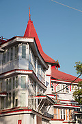 Architectural detail, Mall Road against clear sky, Shimla town, India