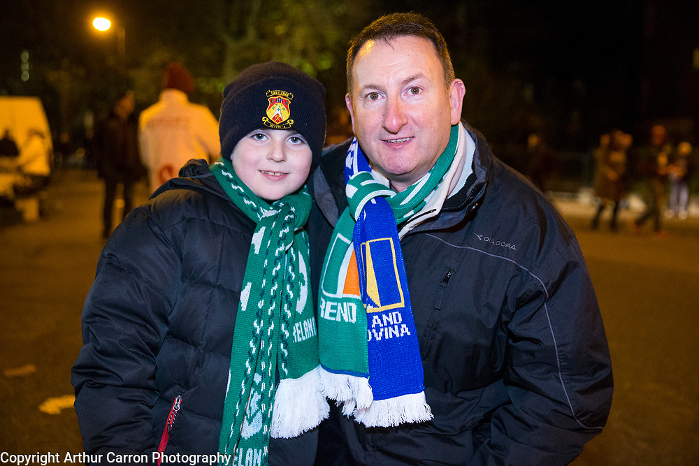 16/11/15 Larry Walpole and his son Lorcan, Castlebar at the European Championship play-off between Ireland and Bosnia at the Aviva Stadium in Dublin. Picture:Arthur Carron
