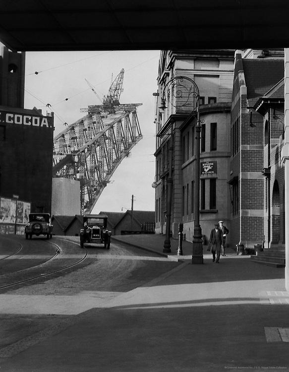 View of the Sydney Harbour Bridge Under Construction from The Rocks, Sydney, Australia,1930