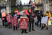 Pro Brexit anti European Union Leave protesters demonstrating in Westminster on 28th October 2019 in London, England, United Kingdom. Brexit is the scheduled withdrawal of the United Kingdom from the European Union. Following a June 2016 referendum, in which 51.9% of participating voters voted to leave. On this day, the EU granted a further extension to Article 50, offering a 'flextension' until 31st January 2020.