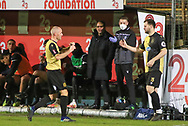 Marine defender David Raven (6) leaves the field during the The FA Cup match between Marine and Tottenham Hotspur at Marine Travel Arena, Great Crosby, United Kingdom on 10 January 2021.