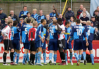 Fotball<br /> Premier League England 2004/2005<br /> Foto: SBI/Digitalsport<br /> NORWAY ONLY<br /> <br /> Cheltenham Town v Wycombe Wanderers<br /> Coca-Cola League Two. 25/09/2004.<br /> Tempers flare as the sides draw 1-1.