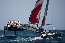 Practice day, 19th of February. Extreme Sailing Series, Act 1, Muscat, Oman (22 - 24 Februari 2011)  Sander van der Borch / Artemis Racing