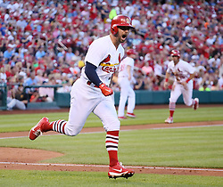 June 25, 2017 - St Louis, MO, USA - St. Louis Cardinals' Greg Garcia reacts after he drove in two runs with a single in the second inning against the Pittsburgh Pirates on Sunday, June 25, 2017, at Busch Stadium in St. Louis, Mo. (Credit Image: © Chris Lee/TNS via ZUMA Wire)