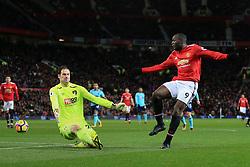 13th December 2017 - Premier League - Manchester United v Bournemouth - Romelu Lukaku of Man Utd shoots past Bournemouth goalkeeper Asmir Begovic - Photo: Simon Stacpoole / Offside.