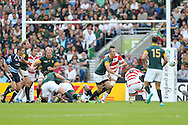 south africa move the ball forward during the Rugby World Cup Pool B match between South Africa and Japan at the Community Stadium, Brighton and Hove, England on 19 September 2015. Photo by Phil Duncan.