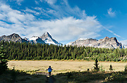 See Mount Assiniboine (3618 meters / 11,870 feet) from Assiniboine Pass, in Mount Assiniboine Provincial Park, British Columbia, Canada. This is part of the Canadian Rocky Mountain Parks World Heritage Site declared by UNESCO in 1984.