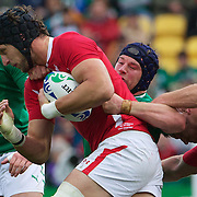 """Luke Charteris, Wales, is tackled by Sean O""""Brien, Ireland, during the Ireland V Wales Quarter Final match at the IRB Rugby World Cup tournament. Wellington Regional Stadium, Wellington, New Zealand, 8th October 2011. Photo Tim Clayton..."""