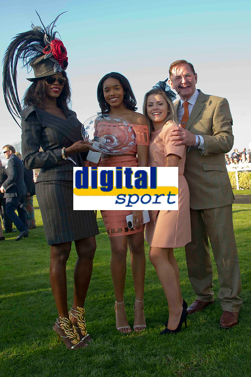National Hunt Horse Racing - 2017 Randox Grand National Festival - Saturday, Day Three [Grand National Day]<br /> <br /> Unidentified black female with the trophy for 3rd place after the presentation the Randox Health Grand National  at Aintree Racecourse.<br /> <br /> COLORSPORT/WINSTON BYNORTH<br /> <br /> <br /> <br /> <br /> <br /> <br /> <br /> <br /> <br /> <br /> National Hunt Horse Racing - 2017 Randox Grand National Festival - Saturday, Day Three [Grand National Day]<br /> <br />  in the 1st race the 1.45 Gaskells Handicap Hurdle at Aintree Racecourse.<br /> <br /> COLORSPORT/WINSTON BYNORTH