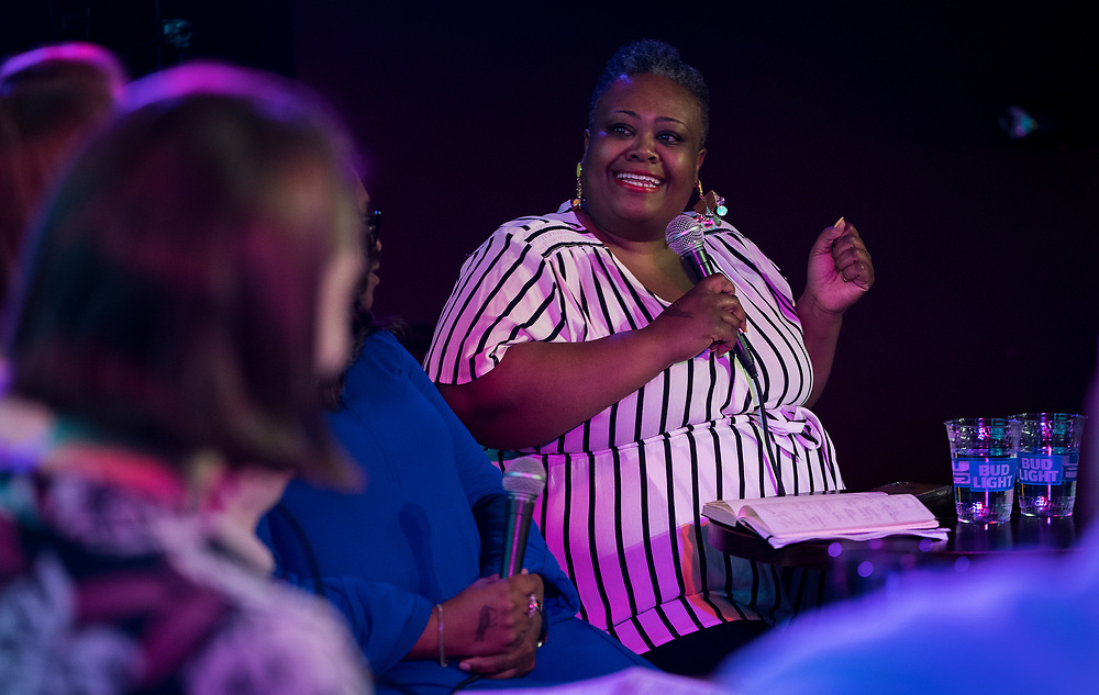 """Progress Center for Black Women founder Sabrina Madison speaks during the live taping of the """"Madsplainers"""" Podcast at High Noon Saloon in Madison, WI on Tuesday, April 9, 2019."""