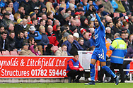 Riyad Mahrez of Leicester City celebrates after scoring his teams 2nd goal to make it 1-2. Premier league match, Stoke City v Leicester City at the Bet365 Stadium in Stoke on Trent, Staffs on Saturday 4th November 2017.<br /> pic by Chris Stading, Andrew Orchard sports photography.