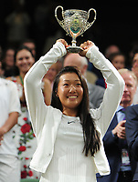 Tennis - 2017 Wimbledon Championships - Week Two, Saturday [Day Twelve]<br /> <br /> Girls Singles Final match<br /> <br /> Ann Li (USA) vs. Claire Liu  (USA) <br /> <br /> Claire Liu with her winner trophy on  Centre court <br /> <br /> COLORSPORT/ANDREW COWIE