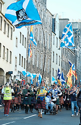 All Under One Banner Independence March, Edinburgh, Saturday 6th October 2018<br /> <br /> Pictured: Crowd Marching down High Street <br /> <br /> (c) Aimee Todd | Edinburgh Elite media