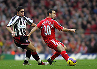 Photo: Paul Thomas.<br /> Liverpool v Sheffield United. The Barclays Premiership. 24/02/2007.<br /> <br /> Javier Mascherano (R) of Liverpool gets a pass away from Ahmed Fathi.