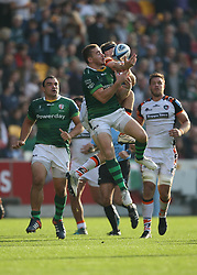 London Irish's Paddy Jackson catches a high ball during the Gallagher Premiership match at the Brentford Community Stadium, London. Picture date: Saturday October 9, 2021.