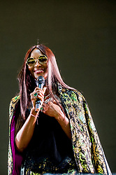May 26, 2018 - London, England, United Kingdom - NAOMI CAMPBELL wearing Dolce & Gabbana  onstage during Afrorepublik festival announcing WIZKID at The O2 Arena. (Credit Image: © RMV via ZUMA Press)