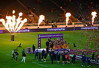 Rugby Union - 2020 / 2021 European Rugby Challenge Cup - Final - Leicester Tigers vs Montpellier - Twickenham<br /> <br /> Montpellier lift the trophy after their 18-17 victory.<br /> <br /> COLORSPORT/ASHLEY WESTERN