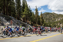 May 18, 2018 - Nevada, U.S - A group of riders approach Daggett Summitt, 7334 ft, along Kingsbury Grade Rd., Nevada, near South Lake Tahoe, during Stage 6 of Amgen Tour of California on Friday, May 18, 2018. (Credit Image: © Tracy Barbutes via ZUMA Wire)