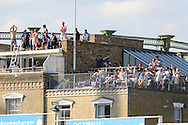 Fans on rooftop during the third day of the 5th Investec Ashes Test match between England and Australia at The Oval, London, United Kingdom on 22 August 2015. Photo by Ellie Hoad.