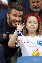 June 27, 2019 - Le Havre, France - David Beckham and his daughter Harper Seven Beckham during the 2019 FIFA Women's World Cup France Quarter Final match between Norway and England at  on June 27, 2019 in Le Havre, France. (Credit Image: © Jose Breton/NurPhoto via ZUMA Press)
