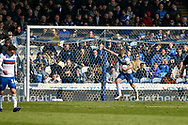 Rochdale Forward, Aaron Wilbraham (18) scores a goal to make it 2-1 during the EFL Sky Bet League 1 match between Portsmouth and Rochdale at Fratton Park, Portsmouth, England on 13 April 2019.