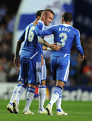 19.10.2011, Stamford Bridge Stadion, London, ENG, UEFA CL, Gruppe E, Chelsea FC (ENG) vs Racing Genk (BEL), im Bild Chelsea's Raul Meireles is congratulated by team-mate Ashley Cole after scoring his side's first goal // during UEFA Champions League group E match between Chelsea FC (ENG) and Racing Genk (BEL) at Stamford Bridge Stadium, London, United Kingdom on 19/10/2011. EXPA Pictures © 2011, PhotoCredit: EXPA/ Propaganda Photo/ Chris Brunskill +++++ ATTENTION - OUT OF ENGLAND/GBR+++++