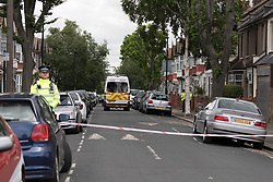 © Licensed to London News Pictures. 05/06/2017. LONDON, UK.  A police cordon and police activity at a residential house in Caledon Road in Newham.  Police are believed to have carried out a raid at an address in Caledon Road this morning in connection with the London Bridge terror attacks. Photo credit: Vickie Flores/LNP