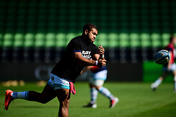 Ollie Lawrence of Worcester Warriors warms up prior to kick off - Mandatory by-line: Ryan Hiscott/JMP - 13/09/2020 - RUGBY - Twickenham Stoop - London, England - London Irish v Worcester Warriors - Gallagher Premiership Rugby