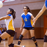 092413       Cable Hoover<br /> <br /> Bloomfield Bobcat Chelsea Largo (9) bumps up a serve from the Gallup Bengals Tuesday at Gallup High School.