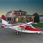 Aircraft parked in front of airport terminal building, Avfuel, AVCenter, Nampa, Idaho, USA