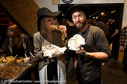 Jason Paul Michaels and his wife Leticia Cline at the after-Party at Revival Cycles on Sunday after the Handbuilt Motorcycle Show. Austin, TX. April 12, 2015.  Photography ©2015 Michael Lichter.