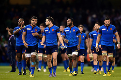 The France team do a lap of the pitch after the match - Mandatory byline: Patrick Khachfe/JMP - 07966 386802 - 11/10/2015 - RUGBY UNION - Millennium Stadium - Cardiff, Wales - France v Ireland - Rugby World Cup 2015 Pool D.