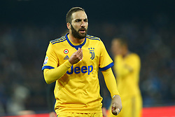 December 1, 2017 - Naples, Italy - Gonzalo Higuain of Juventus reacts during the Serie A match between SSC Napoli and Juventus at Stadio San Paolo on December 1, 2017 in Naples, Italy. (Credit Image: © Matteo Ciambelli/NurPhoto via ZUMA Press)
