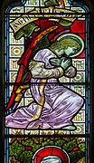Stained glass window c 1881 detail of angel Wenhaston church, Suffolk, England, UK