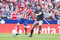 Atletico de Madrid Antoine Griezmann and Athletic Club Mikel Vesga during La Liga match between Atletico de Madrid and Athletic Club and Wanda Metropolitano in Madrid , Spain. February 18, 2018. (ALTERPHOTOS/Borja B.Hojas)