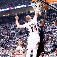 25 April 2016: Los Angeles Clippers forward Jeff Green (8) goes for the layup past Portland Trail Blazers center Mason Plumlee (24) during the Portland Trail Blazers 98-84 victory over the Los Angeles Clippers, during Game Four of the Western Conference Quarterfinals of the NBA Playoffs at the Moda Center, Portland, Oregon, USA.